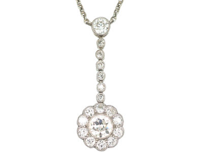 Edwardian Platinum & Diamond Cluster Pendant on Platinum Chain