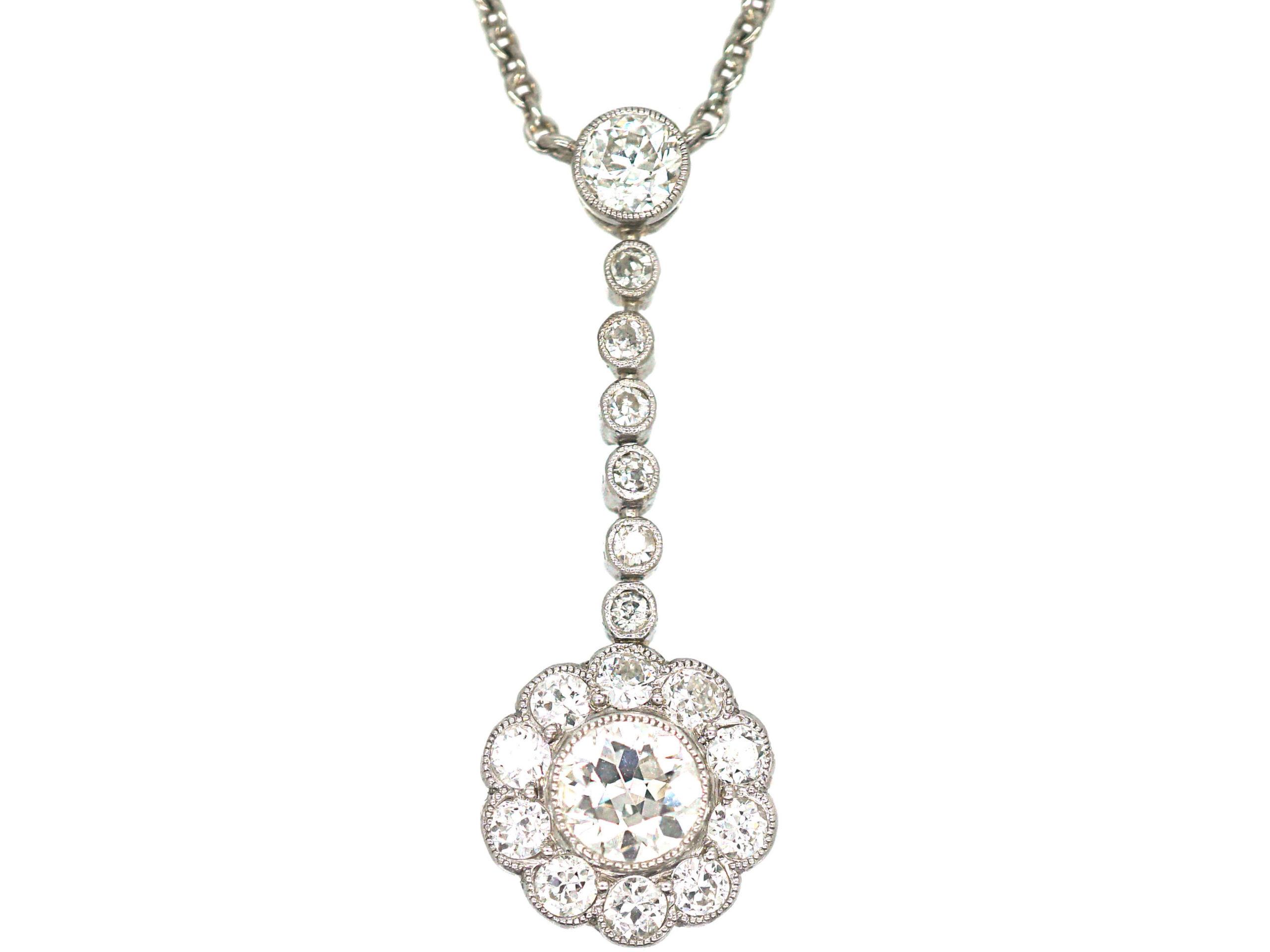 Edwardian Platinum & Diamond Cluster Pendant on Platinum Chain