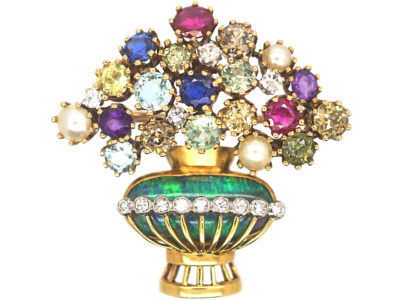 Retro 18ct Gold, Black Opal, Sapphire, Diamond, Ruby & Pearl Giardinetti Brooch