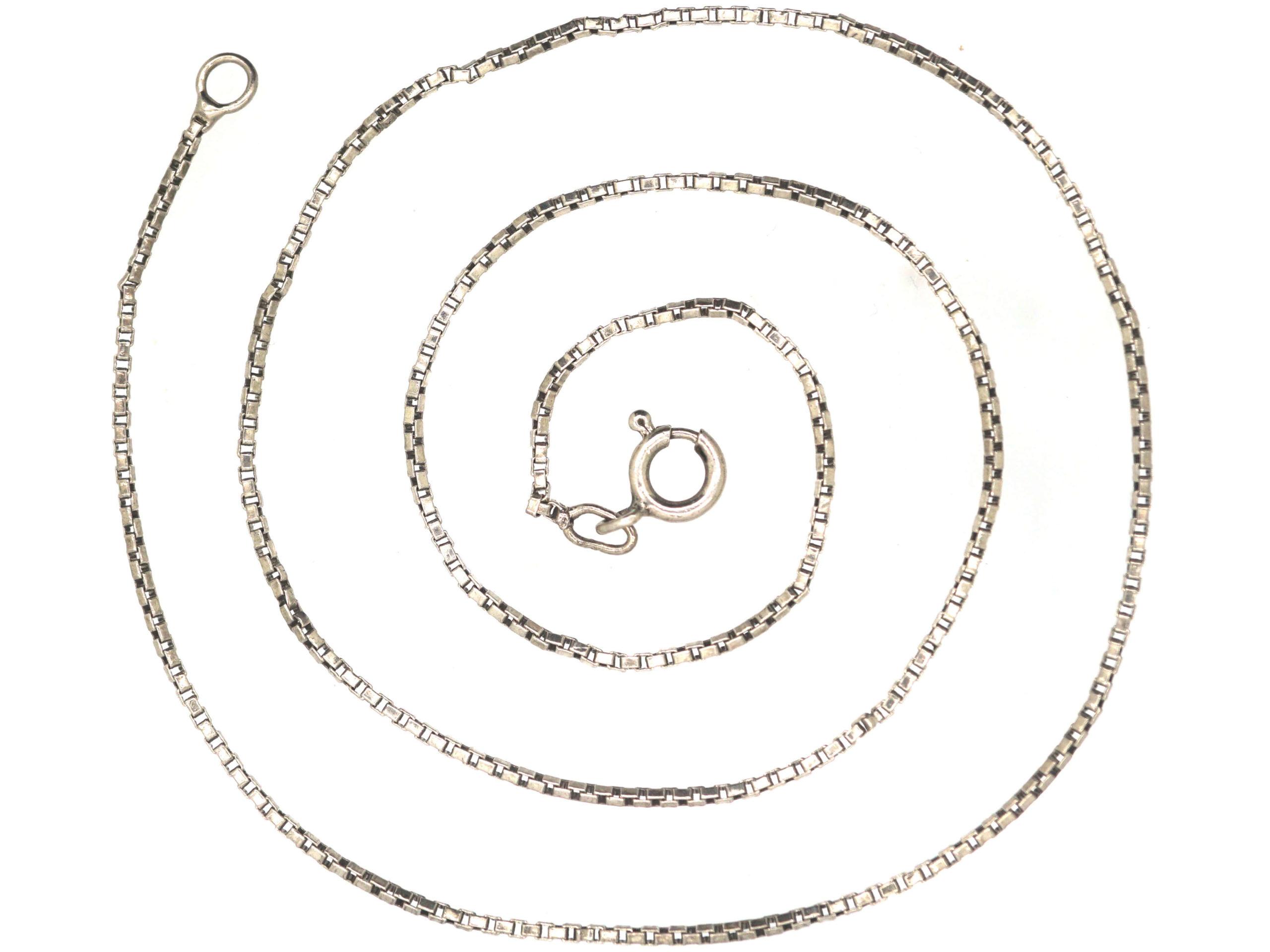 14ct White Gold Narrow Box Link Chain