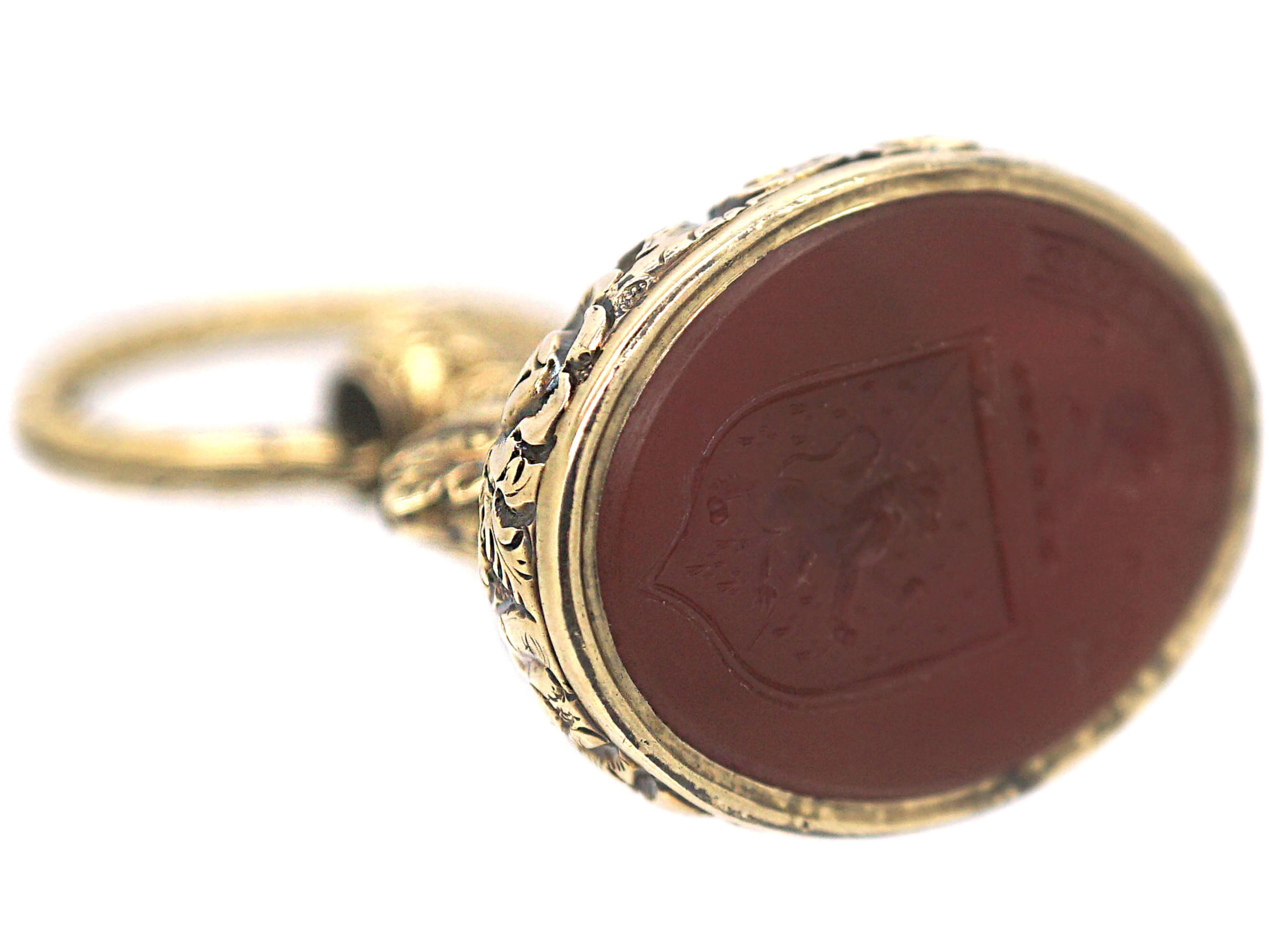 Large Georgian 18ct Gold Cased Seal with Carnelian Intaglio Of a Crest on Original Split Ring
