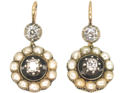 Georgian 9ct Gold, Old Mine Cut Diamond & Natural Split Pearl Cluster Drop Earrings