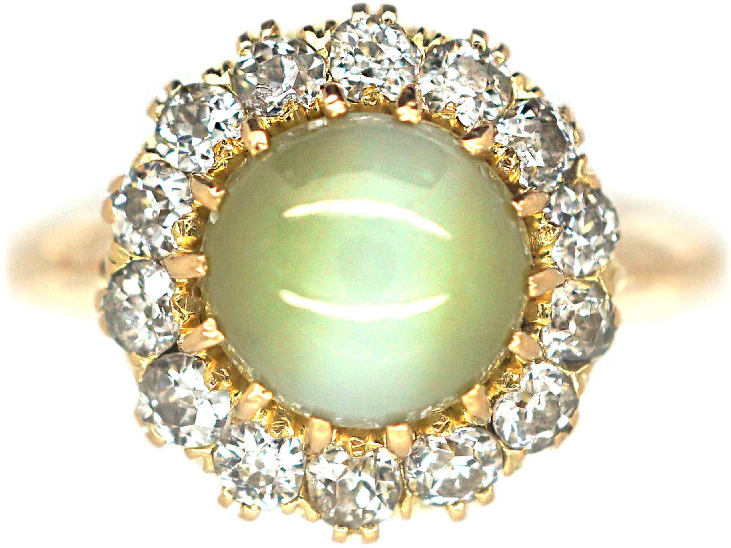 Edwardian 18ct Gold, Cat's Eye Chrysoberyl & Diamond Cluster Ring