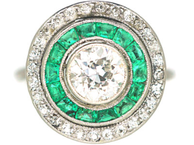Art Deco Platinum, Emerald & Diamond Target Ring