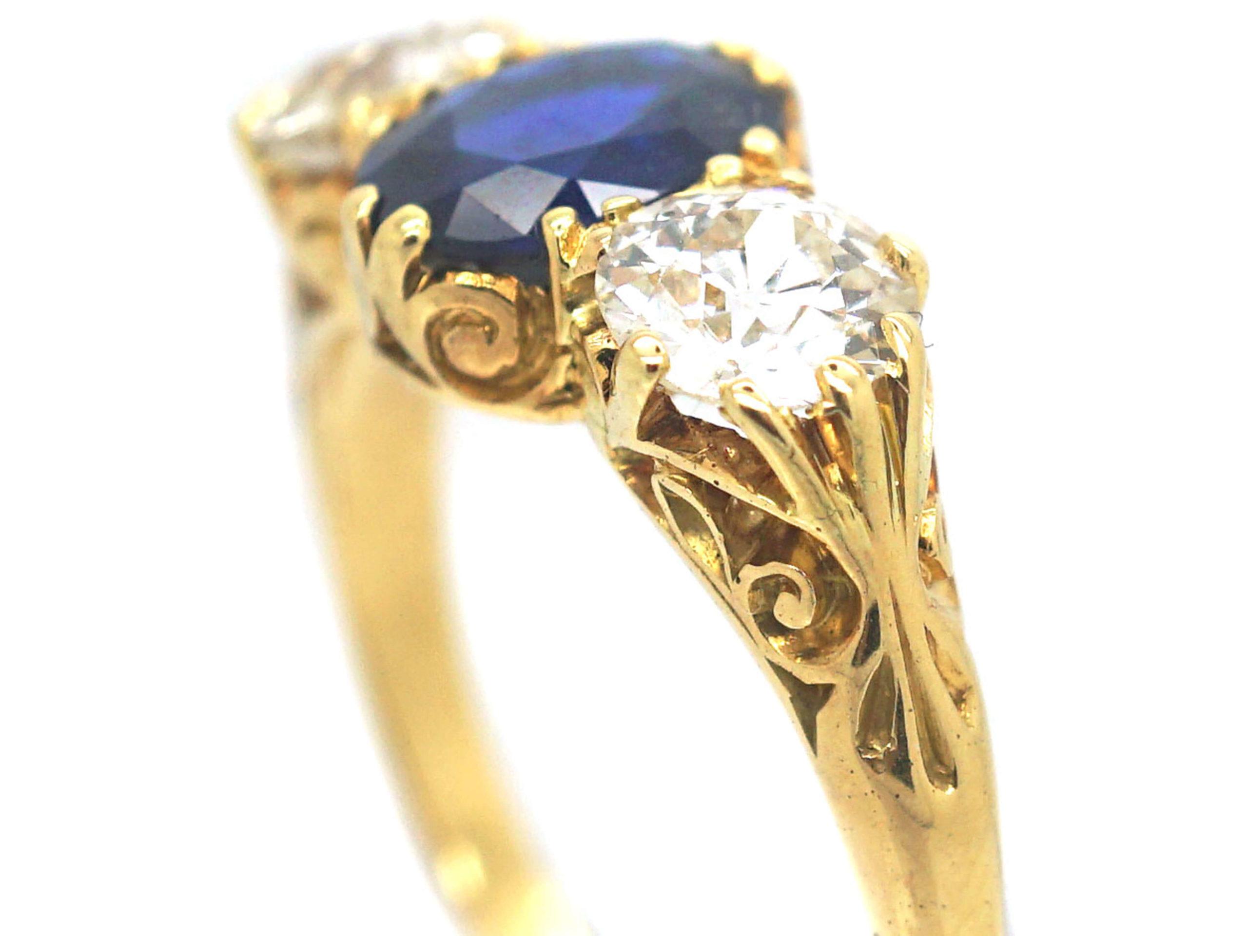 Victorian 18ct Gold, Sapphire & Diamond Three Stone Ring