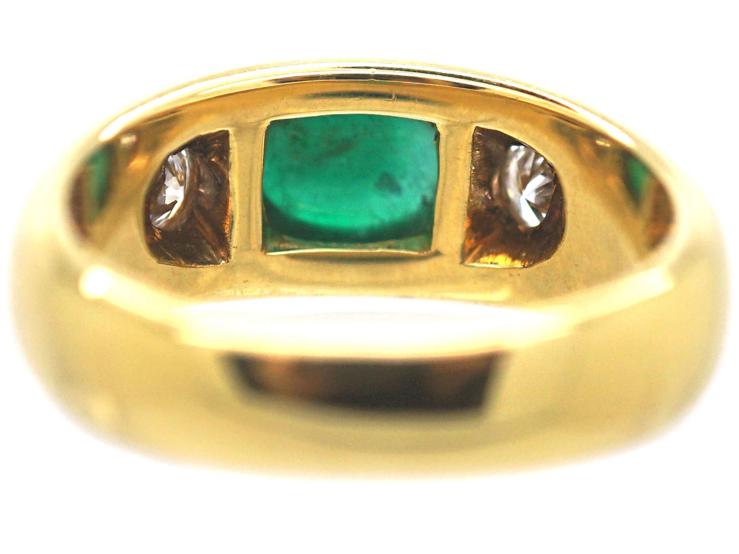 18ct Gold Cabochon Emerald & Diamond Rub Over Ring