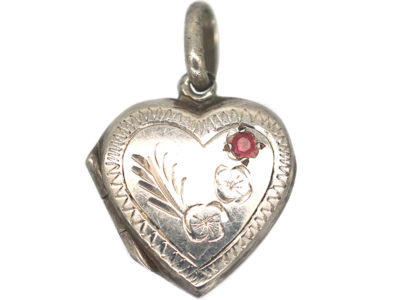 Engraved Silver Heart Locket With Red Paste