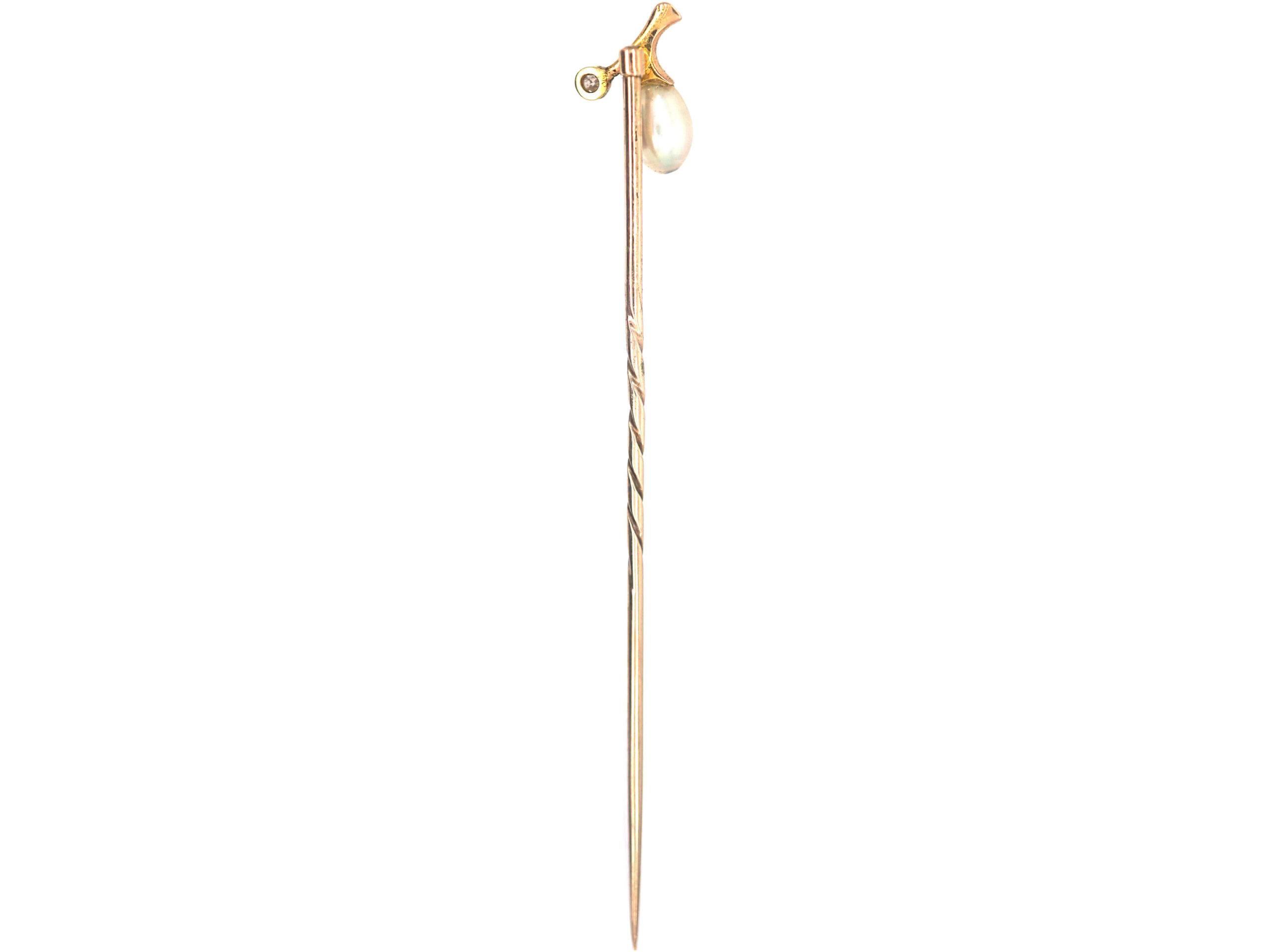 Edwardian Gold, Natural Pearl & Diamond Sprig Tie Pin