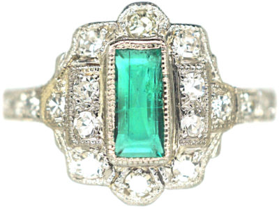 Art Deco Platinum, Emerald & Diamond Rectangular Cluster Ring