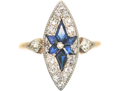 Edwardian 18ct Gold & Platinum, Marquise Shaped Sapphire & Diamond Ring