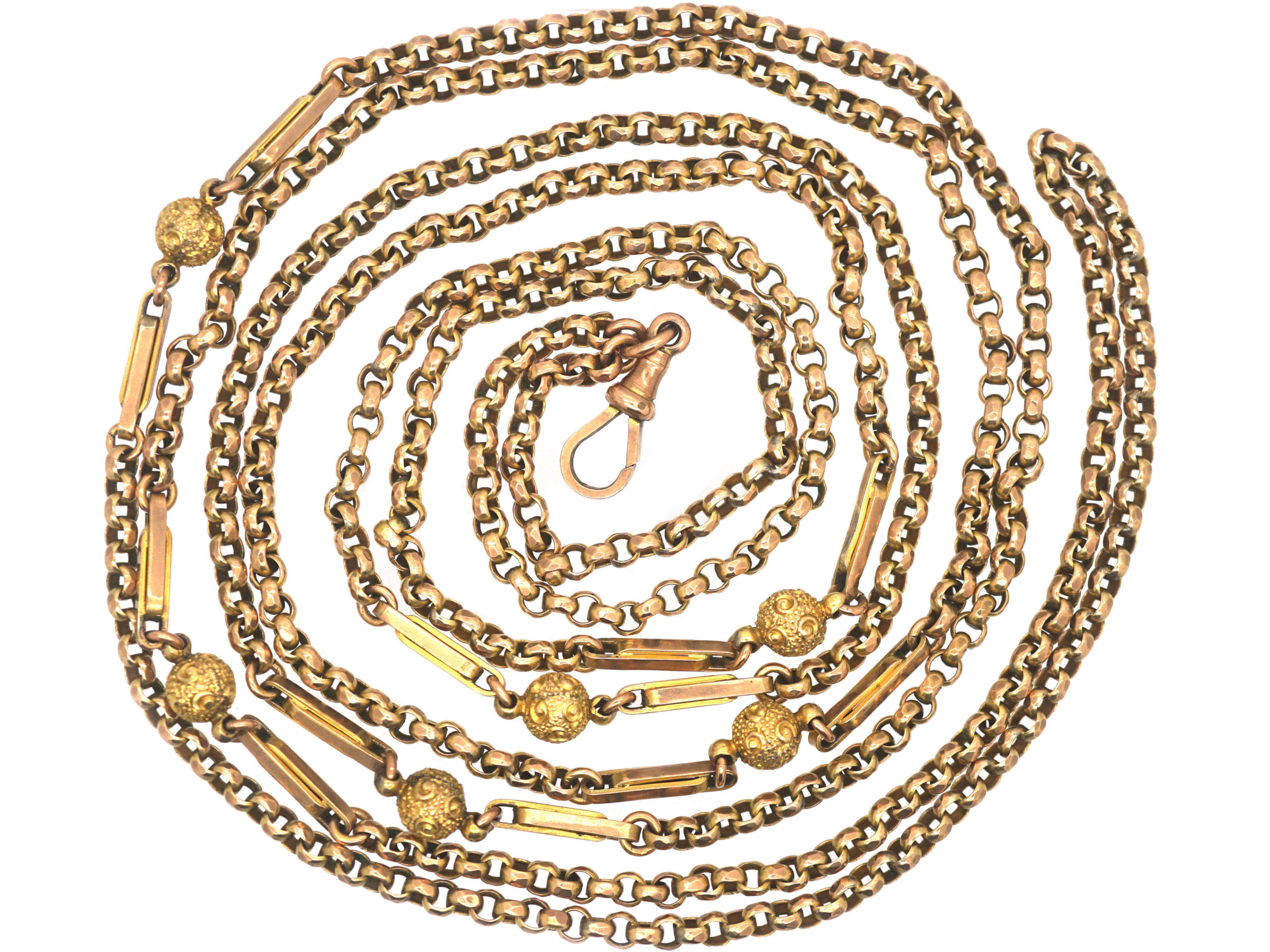Victorian 9ct Gold Ornate Long Guard Chain