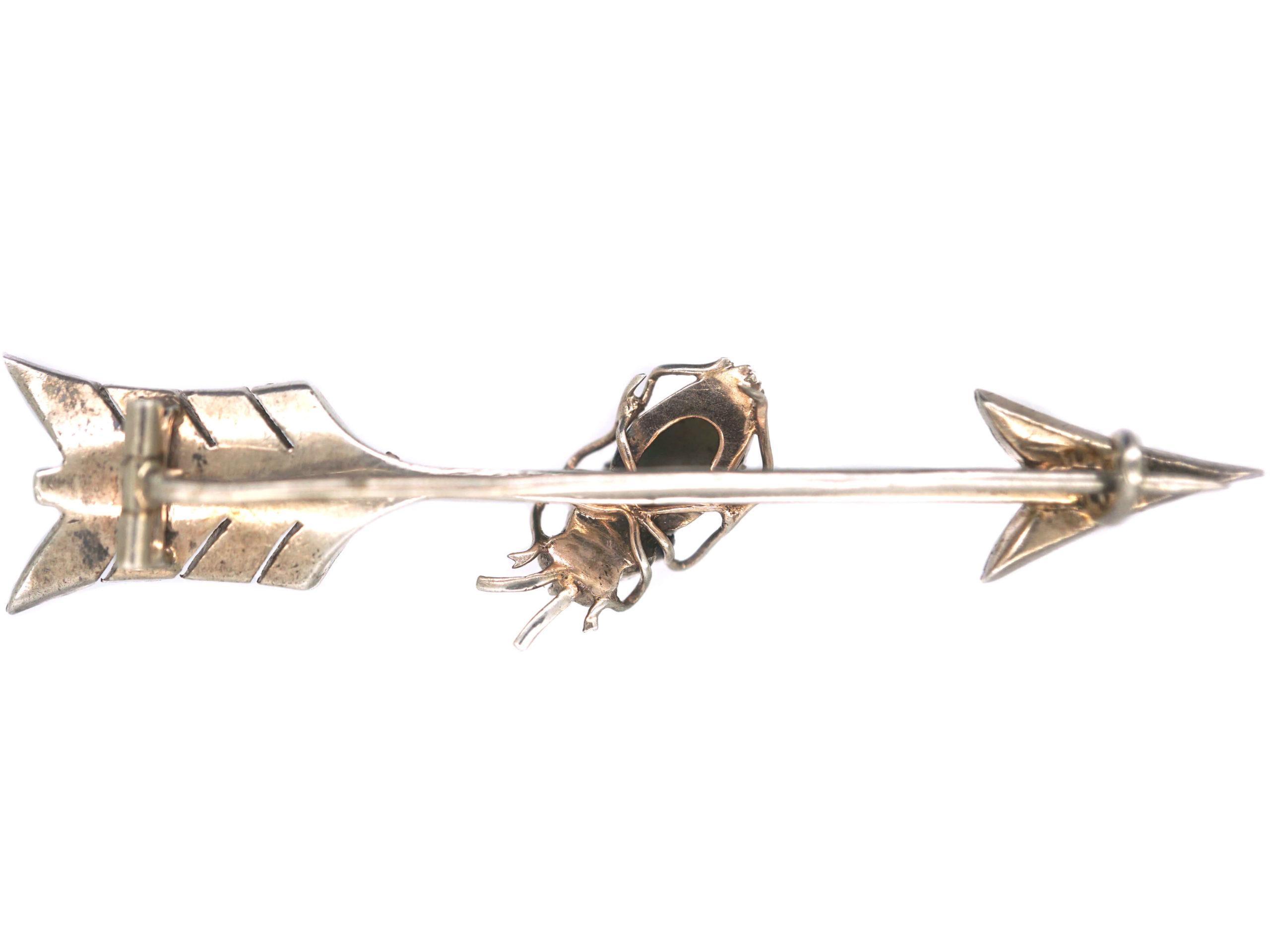 Victorian Silver & Natural Split Pearl Arrow Brooch with Cat's Eye Chrysoberyl Bug
