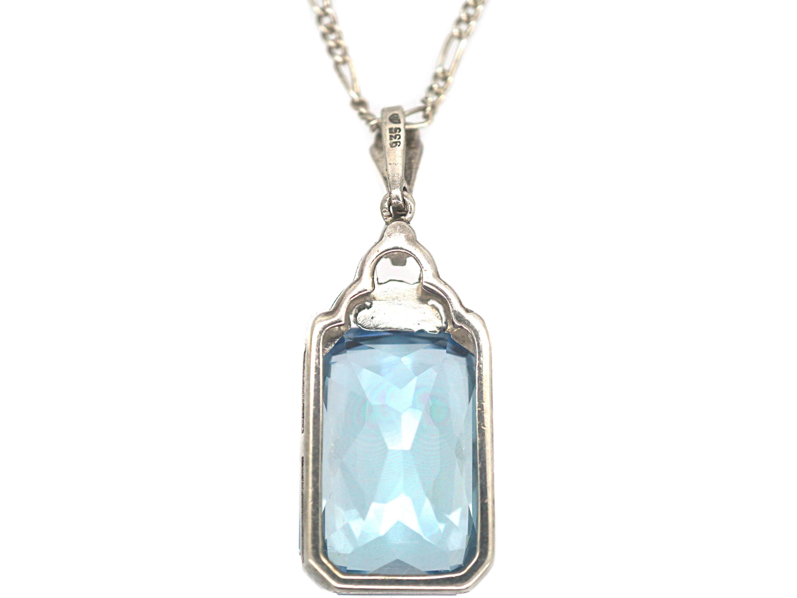 Art Deco Silver Synthetic Spinel Pendant on a Silver Chain