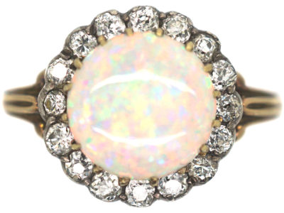 Edwardian 18ct Gold, Opal & Diamond Ring