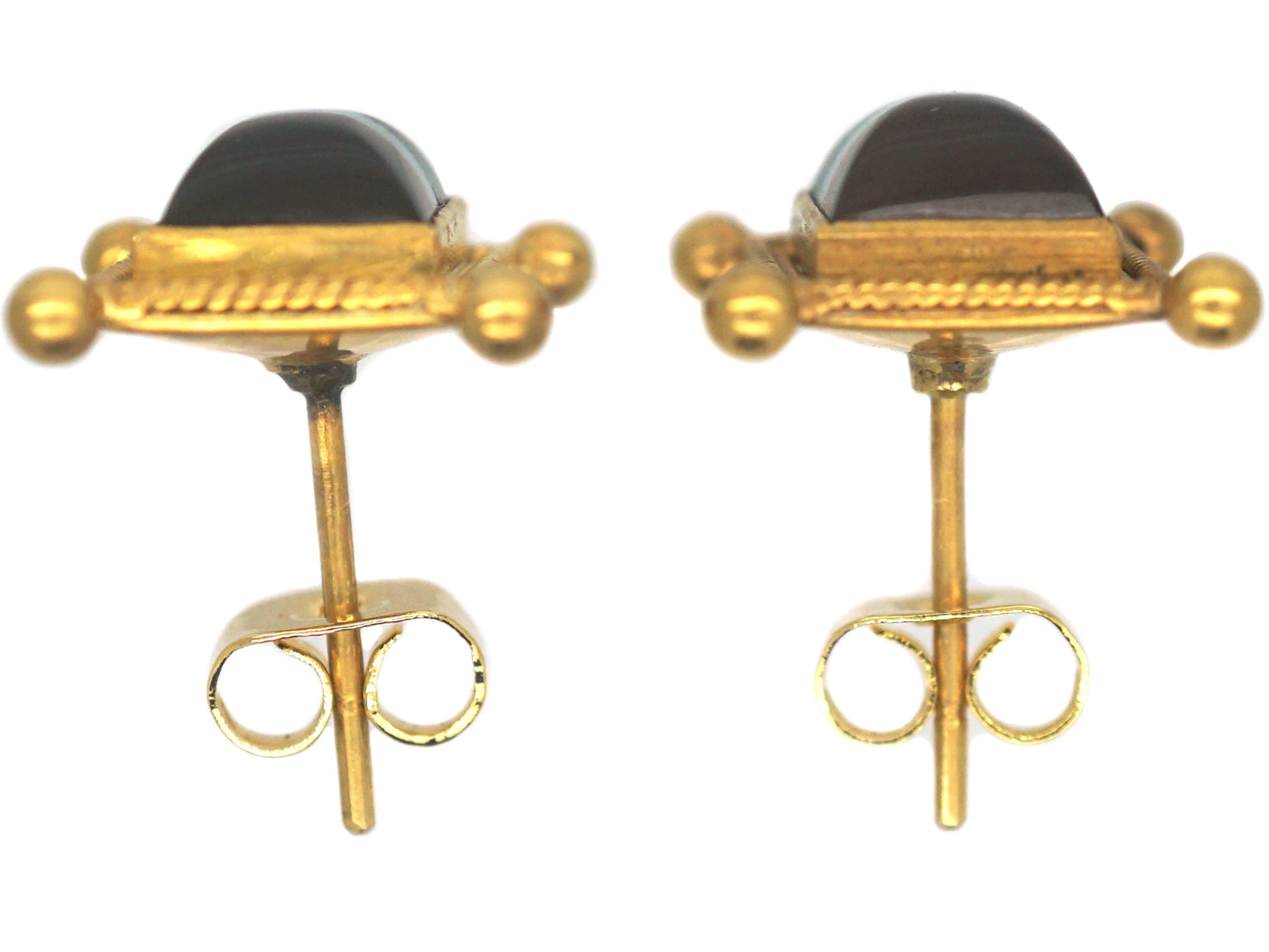 Victorian 18ct Gold & Banded Sardonyx Earrings