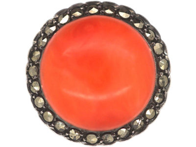Art Deco Silver, Coral & Marcasite Ring
