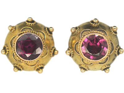 Victorian 15ct Gold Stud Earrings set with Garnets