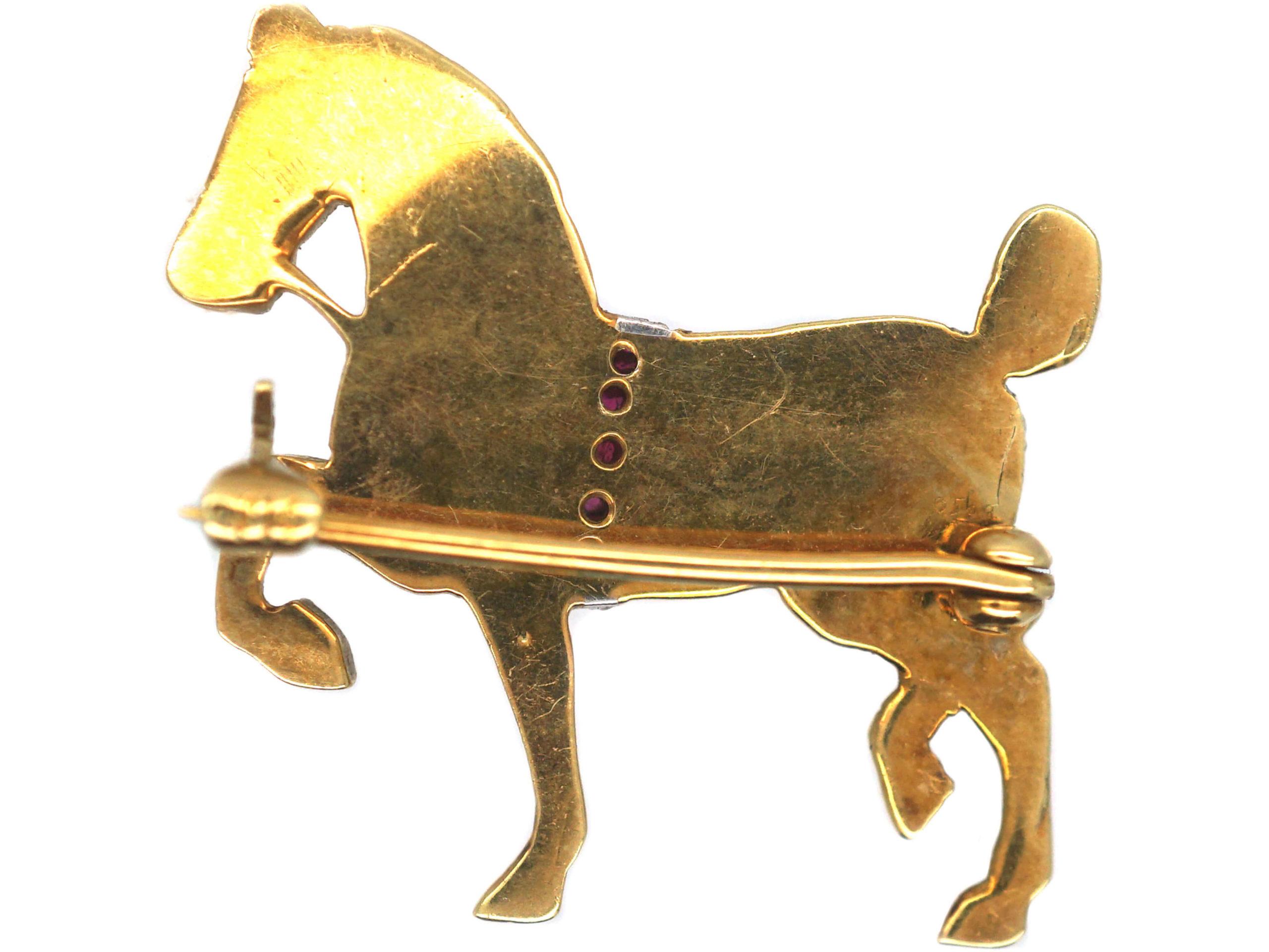 Edwardian 15ct Gold, Natural Split pearl & Ruby Dressage Horse Brooch