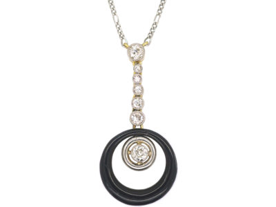 Art Deco 18ct Gold & Platinum, Diamond & Black Enamel Pendant