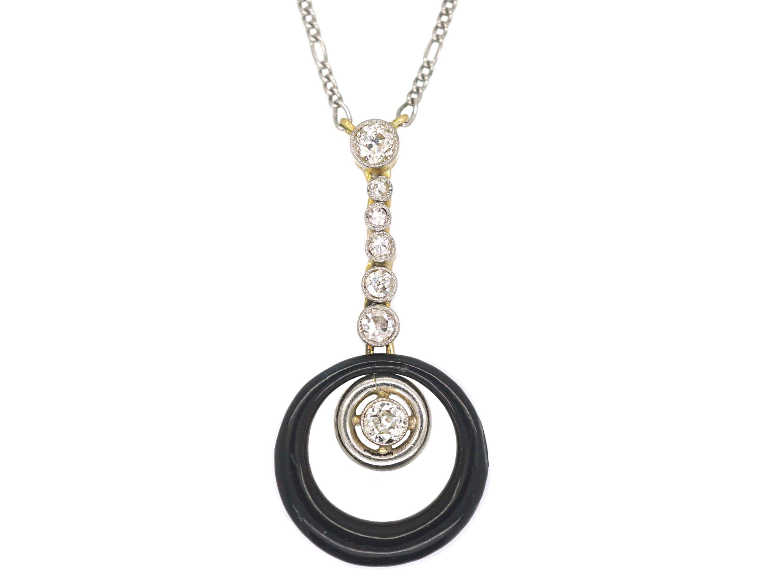 Art Deco 18ct Gold & Platinum, Diamond & Black Enamel Pendant