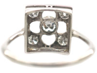 Art Deco 18ct White Gold Gothic Design Ring set with Diamonds
