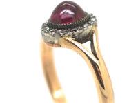 Edwardian 18ct Gold, Ruby & Rose Diamond Cluster Ring