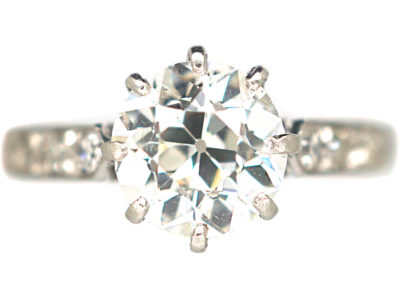 Art Deco Platinum & Diamond Solitaire Ring with Diamond Set Shoulders