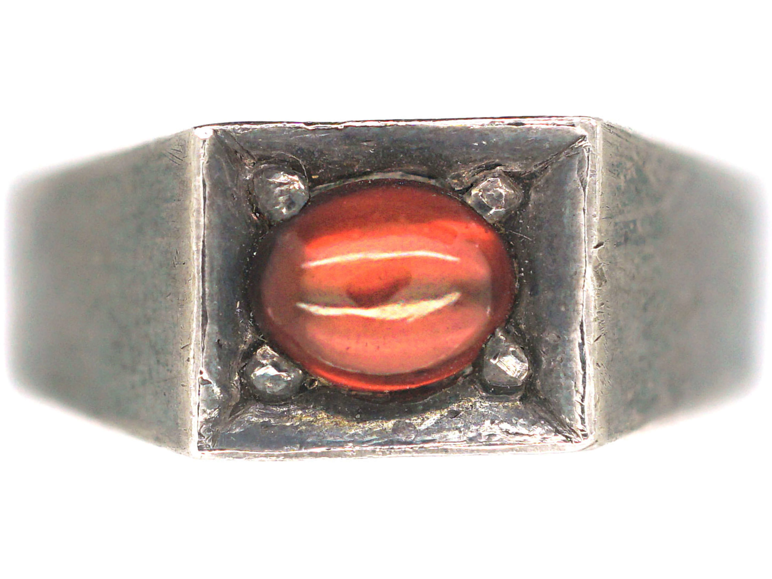 Silver Ring set with a Cabochon Garnet