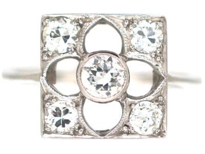 Art Deco 18ct White Gold Gothic Design Ring set with Diamonds