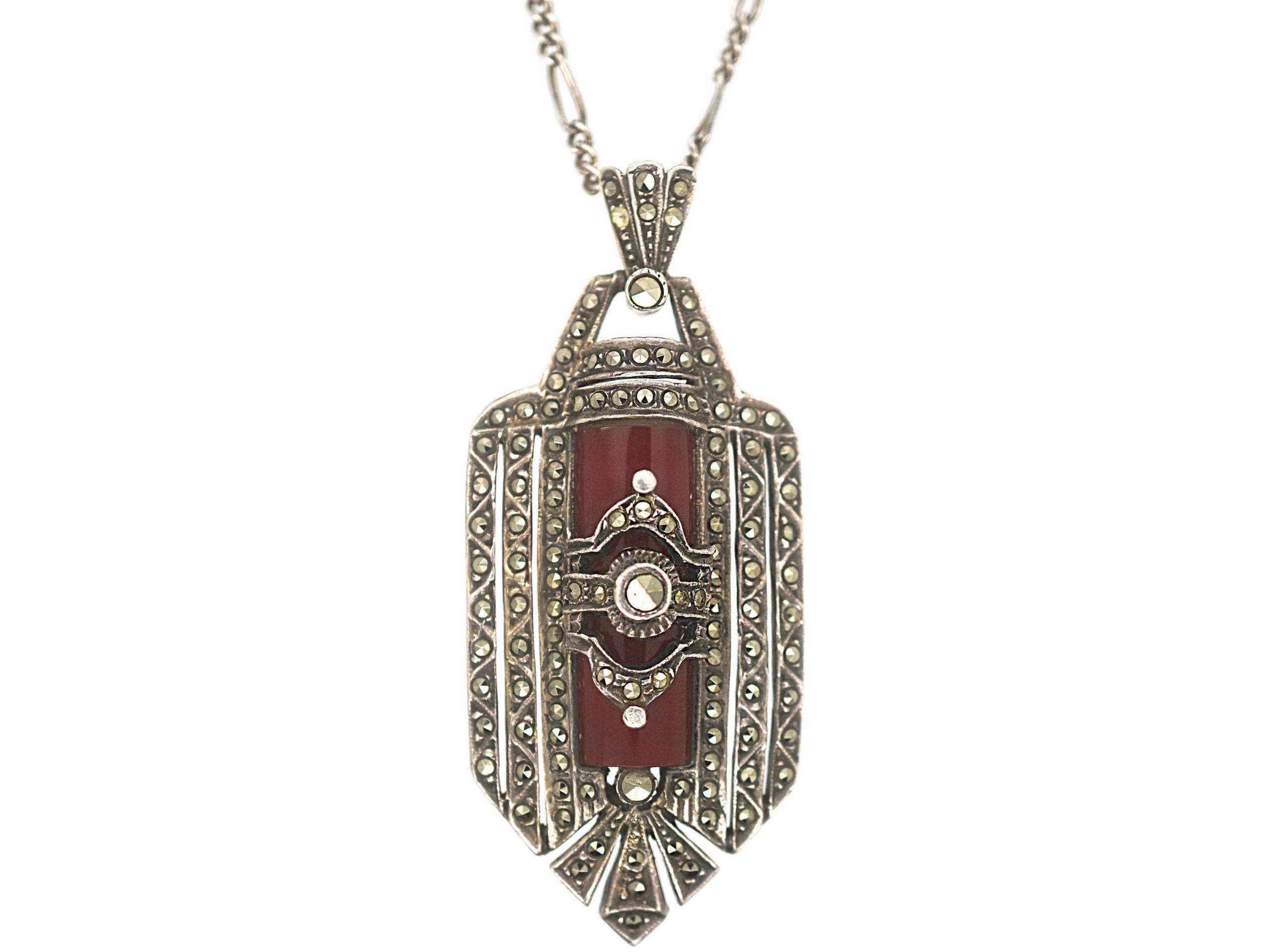 Art Deco Silver, Carnelian & Marcasite Pendant on Silver Chain