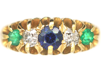 Edwardian 18ct Gold Sapphire, Emerald & Diamond Five Stone Ring