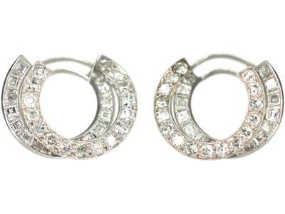 Art Deco Platinum & Diamond Hoop Earrings by Alabaster & Wilson