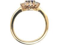 Edwardian 18ct Gold, Rose Cut Sapphire & Diamond Cluster Ring