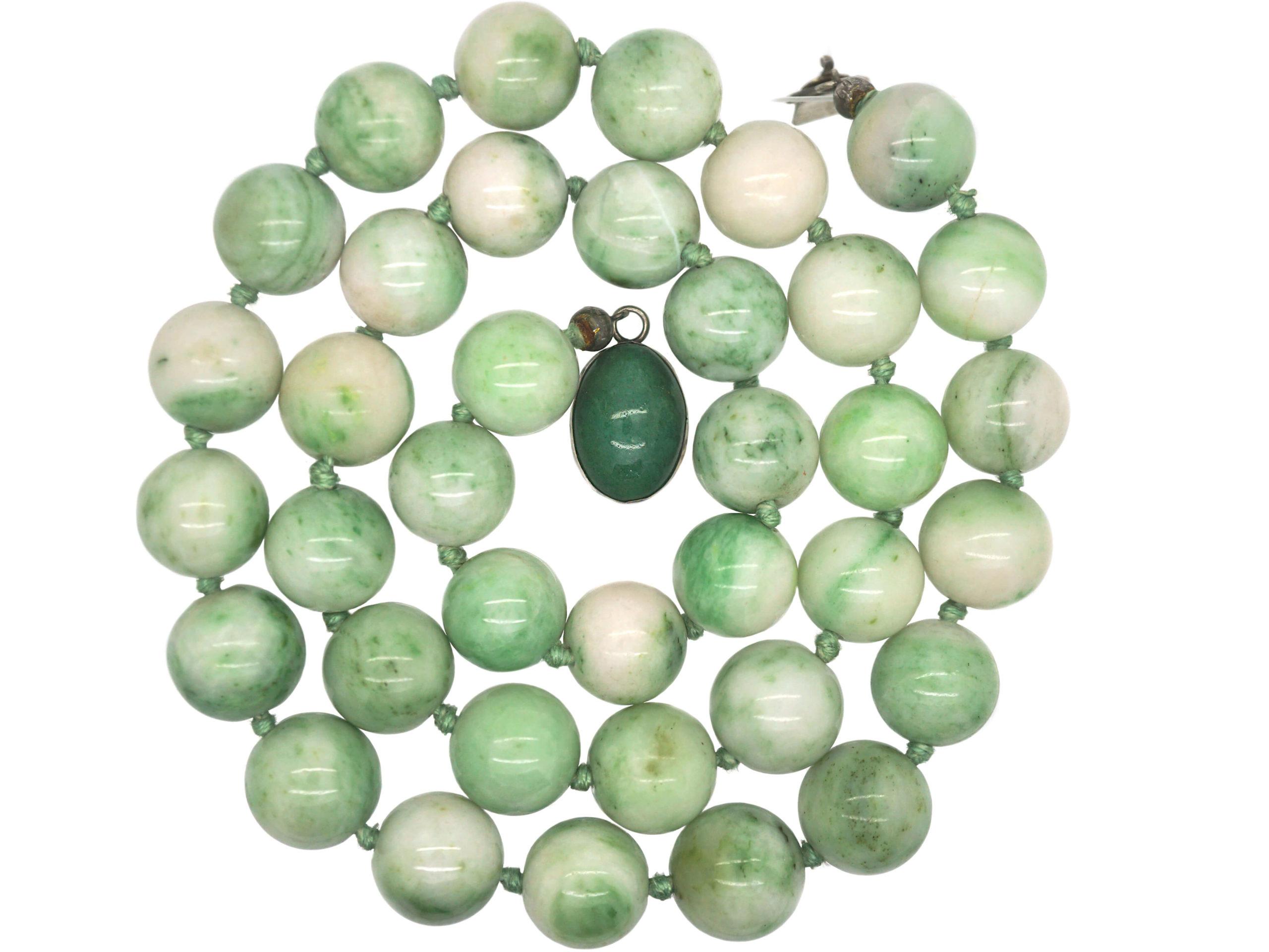 Moss in Snow Jade Beads with Silver & Aventurine Quartz