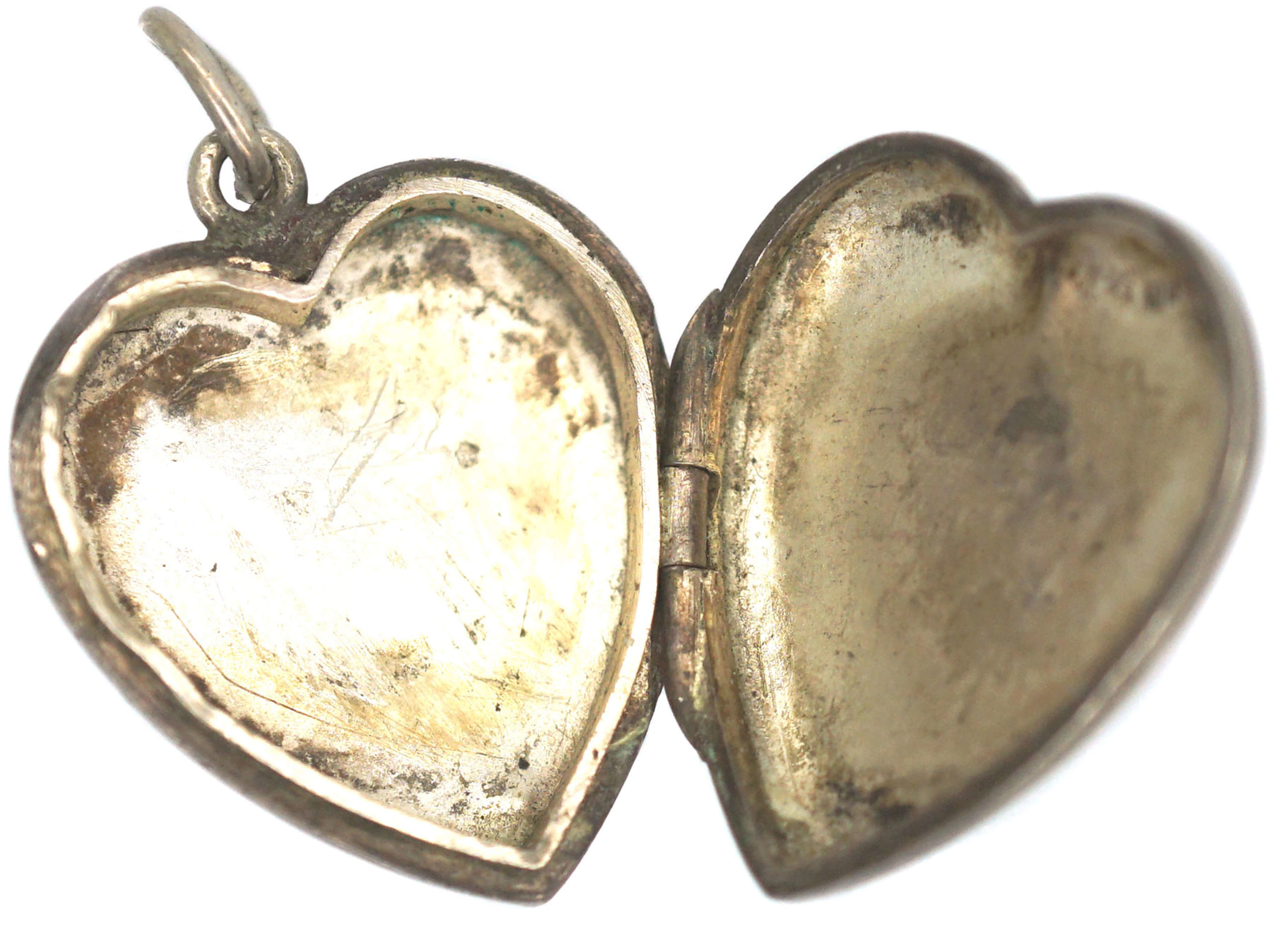 Silver Heart Locket With Engraved Flower & Leaves