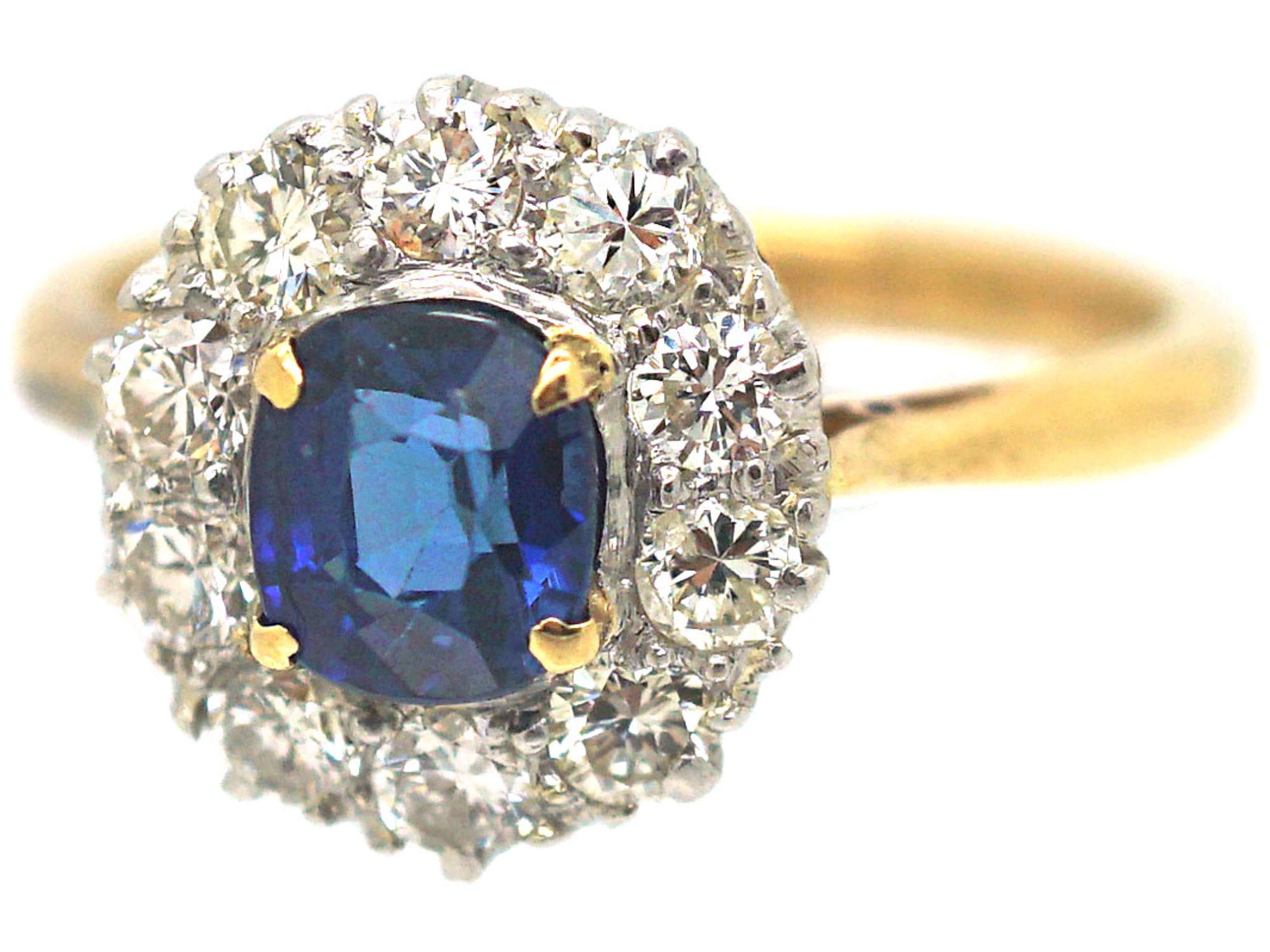 18ct Gold & Platinum, Sapphire & Diamond Cluster Ring
