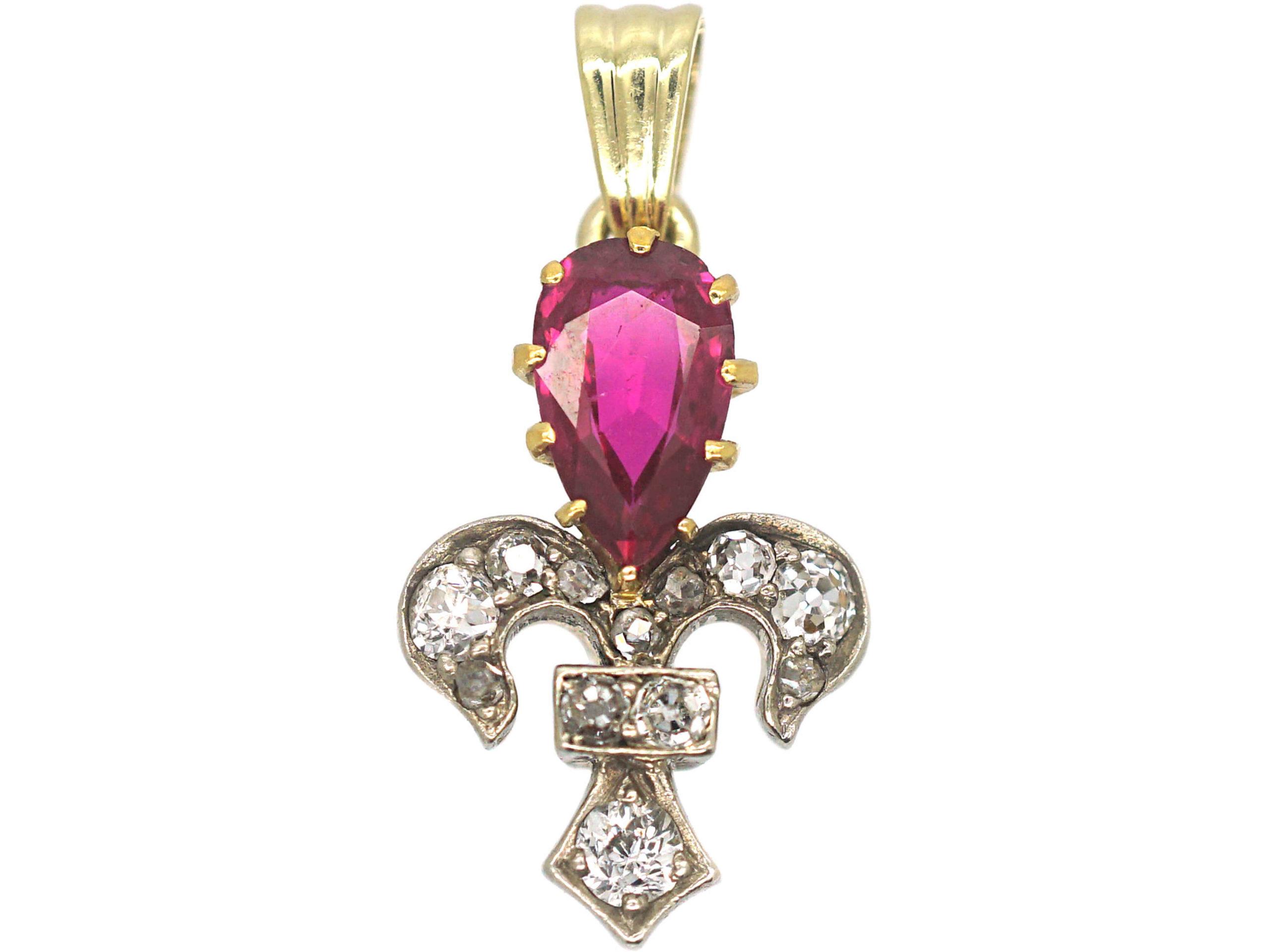 Edwardian 18ct yellow & White Gold, Diamond & Pear Shaped Ruby Fleur de Lys Pendant