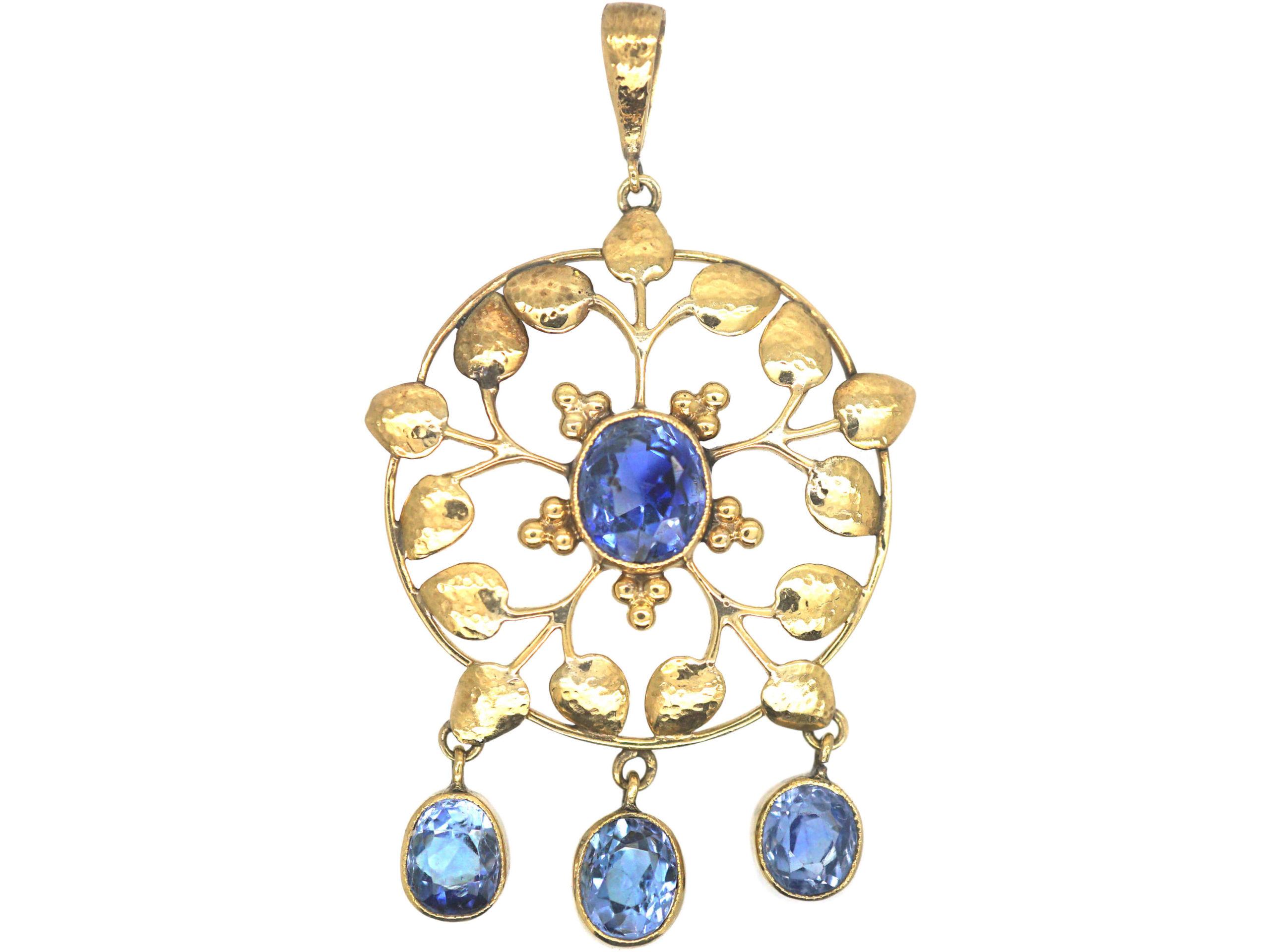 Art Nouveau 15ct Gold & Sapphire Pendant