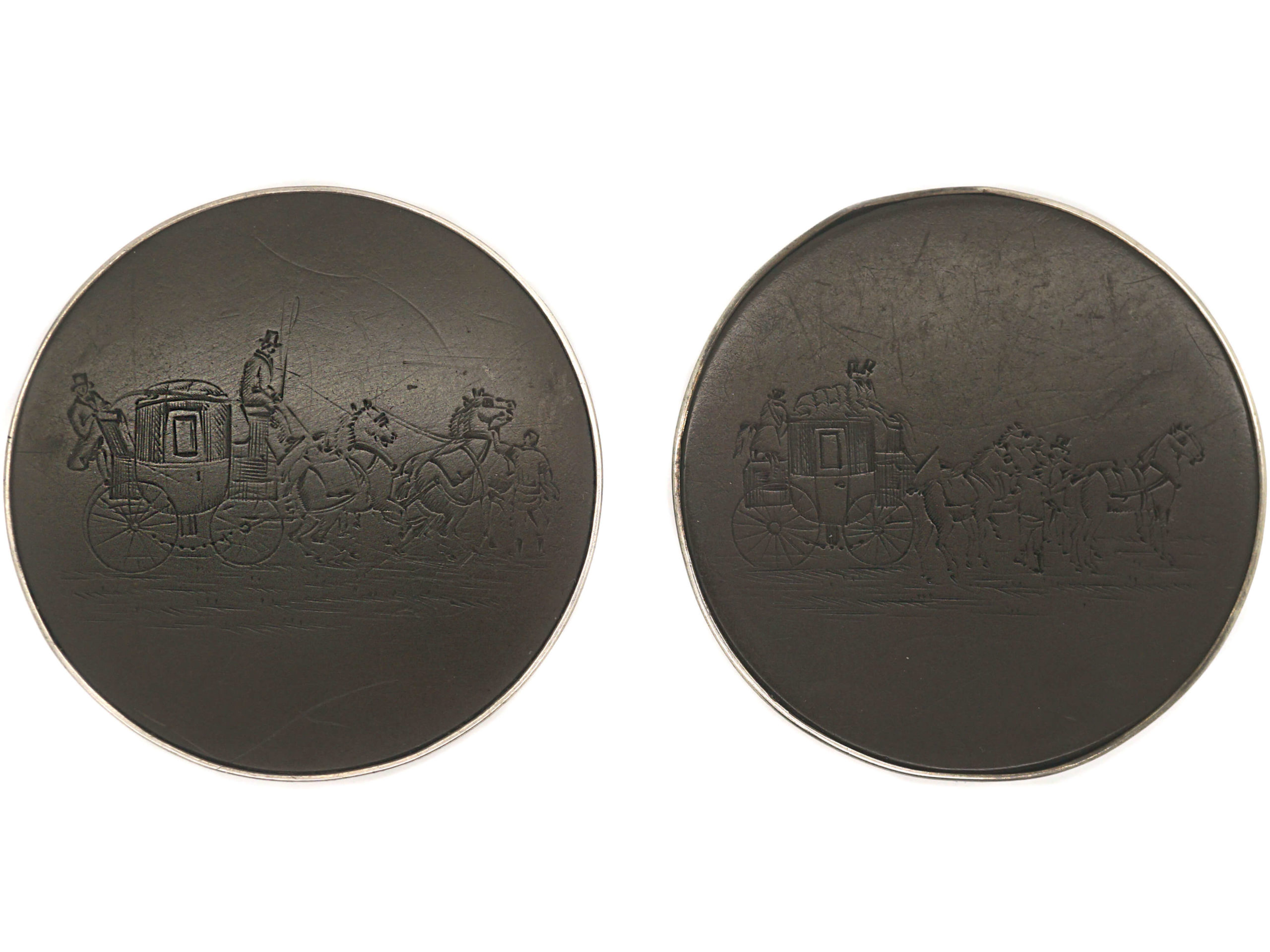 Victorian Large Silver & Horn Buttons Engraved with Coaching Scenes