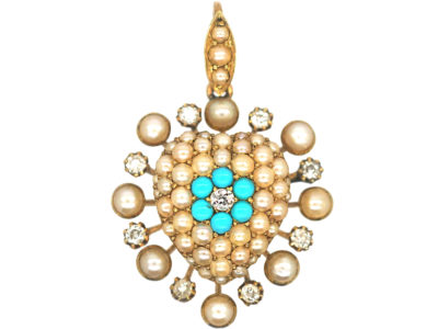 Edwardian 15ct Gold Turquoise, Diamond & Natural Split Pearl Heart Shaped Pendant
