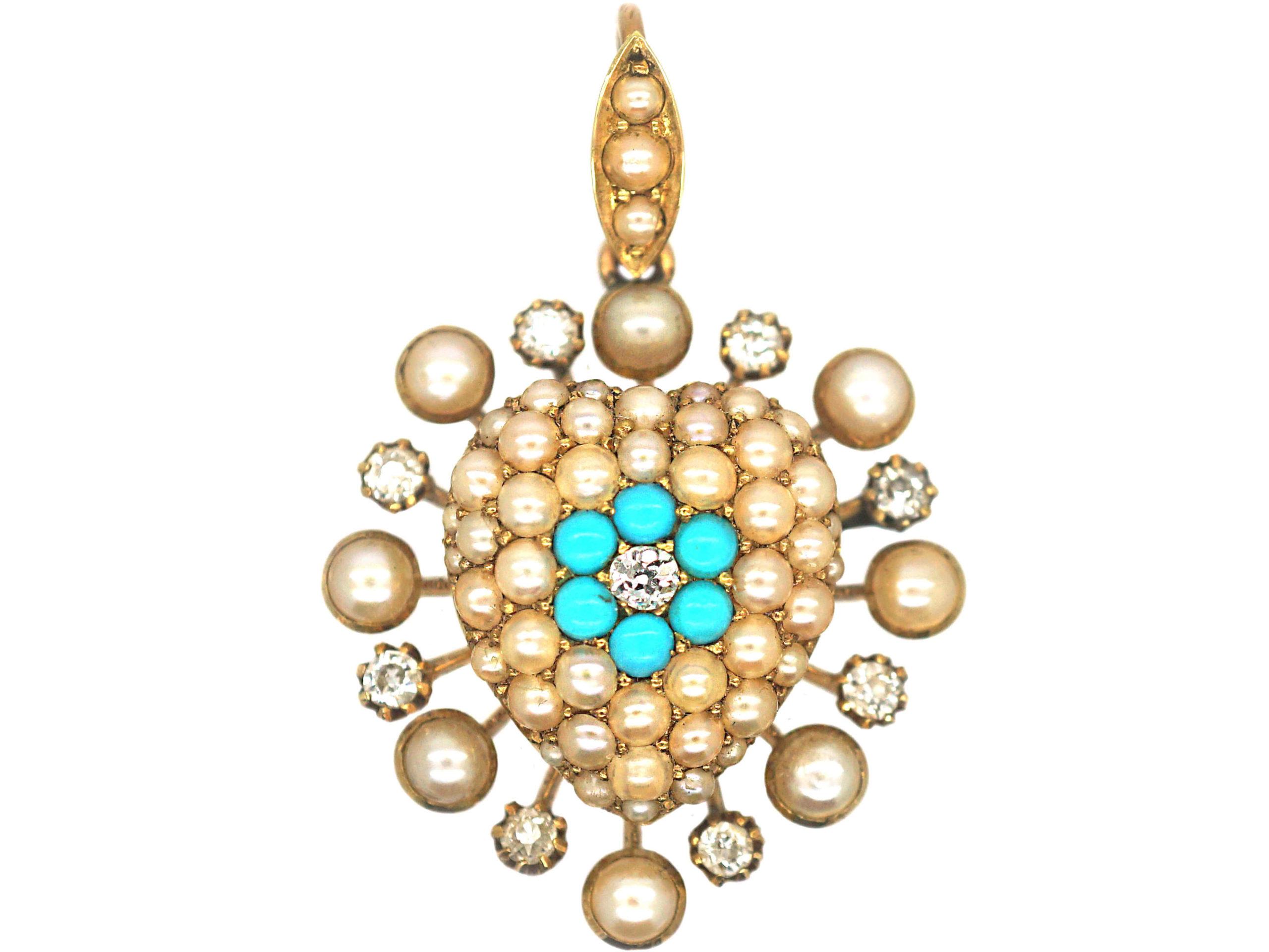 Edwardian 15ct Gold Turquoise, Diamond & Natural Split Pearl Heart Shaped Pendant