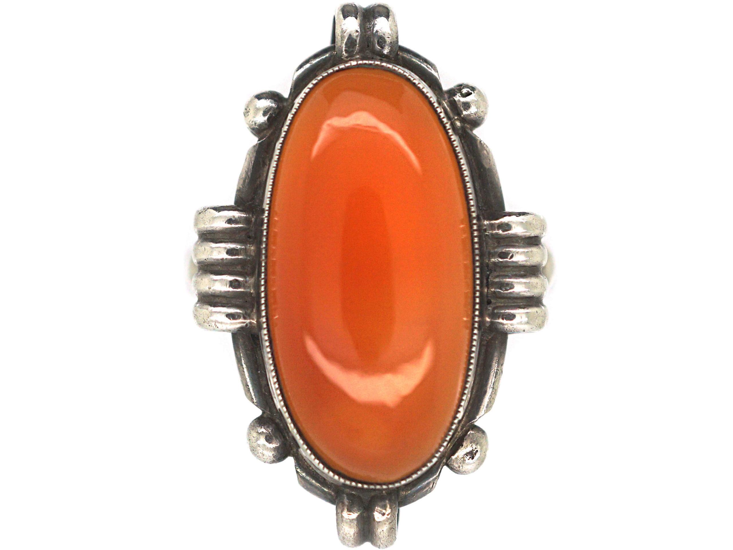 Art Deco Silver & Oval Carnelian Ring