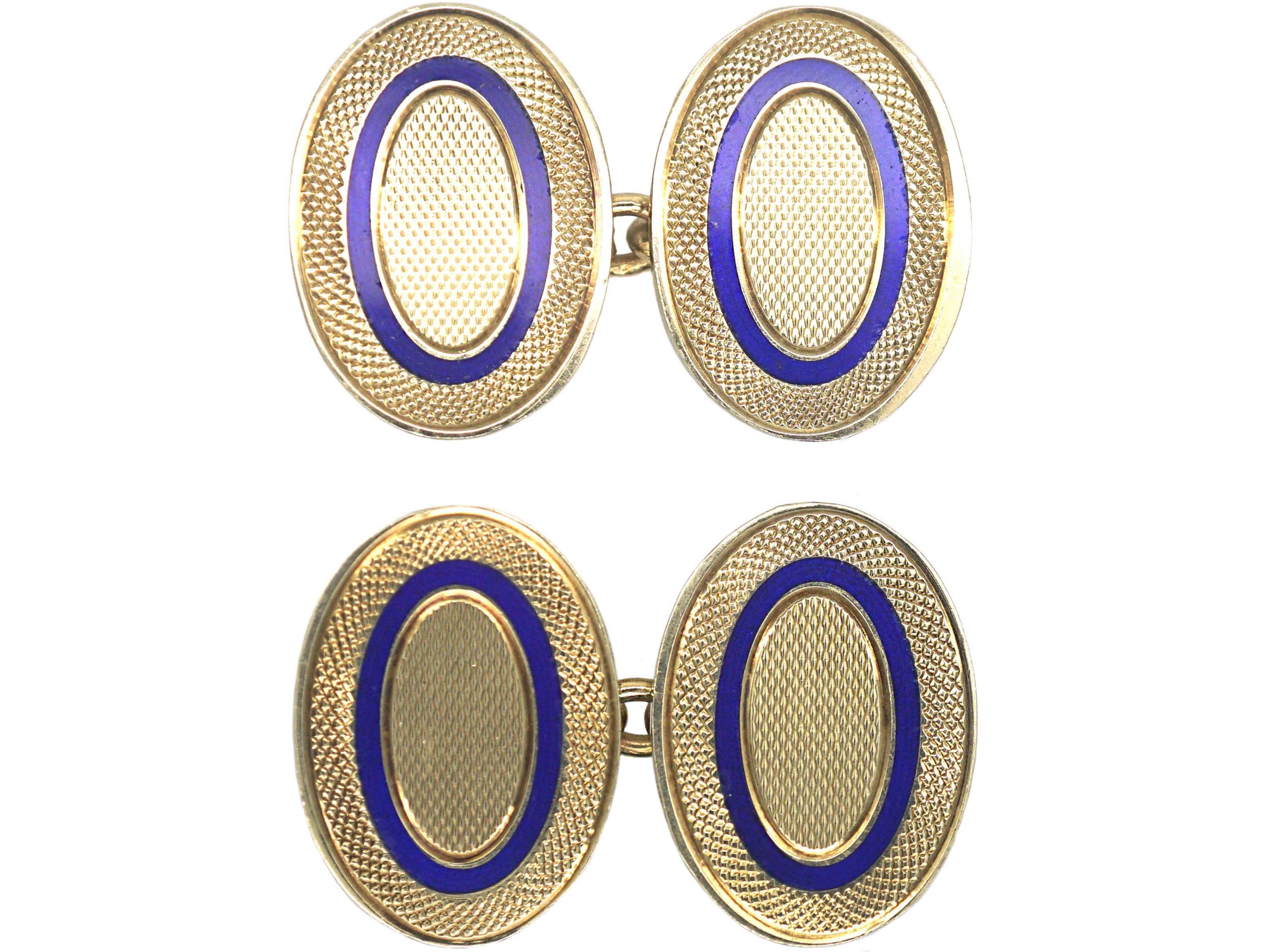9ct Gold & Blue Enamel Oval Cufflinks