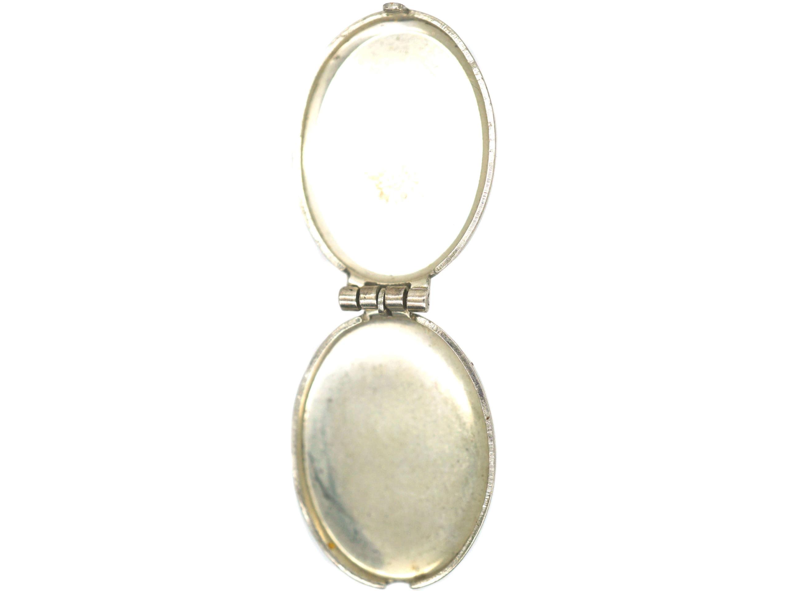 Small Silver Oval Locket with Sunburst Design