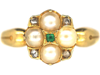 Regency 18ct Gold, Natural Split Pearl, Rose Diamond Ring