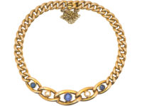 Edwardian 15ct Gold, Sapphire & Pearl Curb Link Bracelet