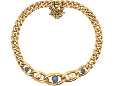 Edwardian 15ct Gold, Sapphire & Pearl Curb Link Bracelet