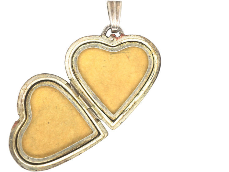 Silver Heart Engraved Locket With Baroque Swirls