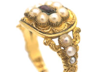 Georgian 18ct Gold Garnet & Natural Split Pearls Ring