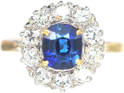 18ct Gold & Platinum, Sapphire & Diamond Cluster Ring